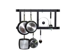Rogar Ultimate Wall Mounted Pot Rack In Black with 8 Black Regular Hooks