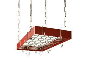 Rogar Rectangular Hanging Pot Rack with Grid In Red and Chrome