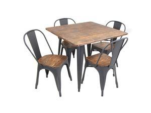 Lumisource Oregon 5-Piece Dining Set In Aged Wood And Grey Frame