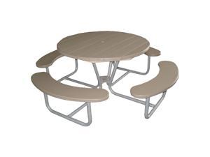 Eagle One Round Greenwood Picnic Table Metal Base In Driftwood