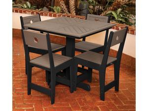 Eagle One 5 Piece Cafe Square Table Dining Set In Black And Driftwood
