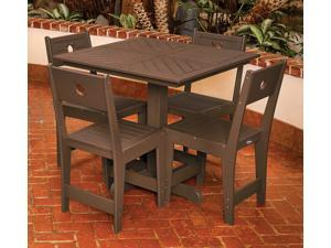 Eagle One 5 Piece Cafe Square Table Dining Set In Brown