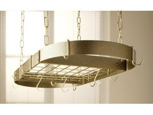 Rogar Oval Hanging Pot Rack with Grid In Hammered Copper and Black
