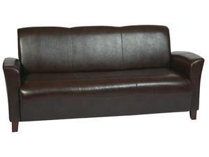 OSP Furniture Lounge Seating SL2273EC9 Mocha Eco Leather Sofa w/ Cherry Finish Legs