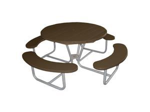 Eagle One Round Greenwood Picnic Table Metal Base In Brown