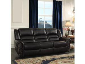 Homelegance Center Hill Double Reclining Sofa in Black Leather