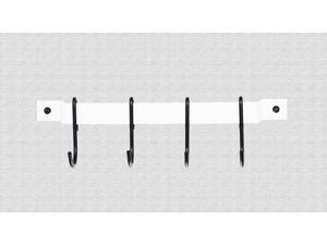 Rogar Wall Mounted Utensil Rack In White with 4 Black Regular Hooks - 12 Inch