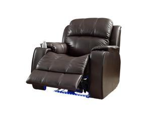 Brown Bonded Leather Massage Recliner Chair w/LED by Homelegance