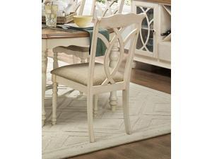 Homelegance Azalea Fabric Side Chair In Natural Fabric Antique White [Set of 2]