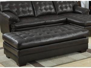 OTTOMAN, BROWN BONDED LEATHER
