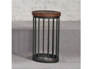 Hammary Boardwalk Round End Table in Distressed Medium Brown