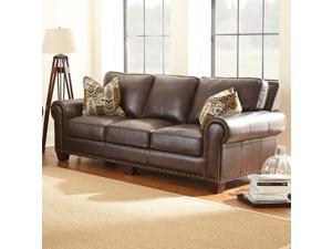 Steve Silver Escher Sofa w/2 Accent Pillows in Coffee Bean Leather