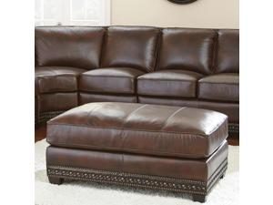 Steve Silver Henry Ottoman in Antique Tobacco Leather