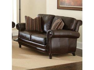 Steve Silver Chateau Loveseat in Antique Chocolate Brown Leather