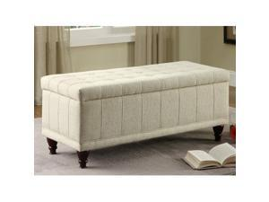 Lift Top Storage Bench in Cream Fabric by Homelegance