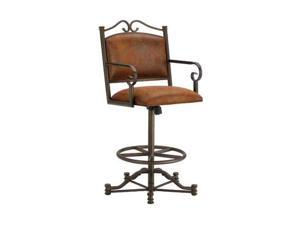 DFI Sherwood Tilt Swivel Stool With Arms In Inca With Mayflower Cocoa Fabric - B