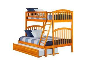 Atlantic Richland Bunk Bed in Caramel Latte - Twin over Full|Raised Panel Bed Dr