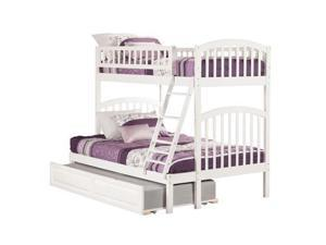 Atlantic Richland Bunk Bed in White - Twin over Full|Raised Panel Bed Drawers