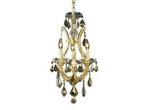 Lighting By Pecaso Karla Collection Hanging Fixture D12in H22in Lt:3+1 Gold Fini