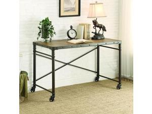 Homelegance Themis Writing Desk w/Functional Wheels in Oak & Brown Metal