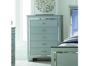 Homelegance Allura 5 Drawer Chest in Silver