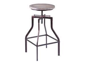Armen Living Concord Adjustable Barstool in Industrial Copper finish with Ash Pi