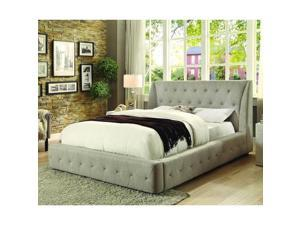 Homelegance Vienna Upholstered Platform Bed in Light Grey Fabric - Queen