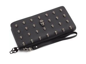 Woman Wallets Skull Rivet Leather Long Paragraph Large Capacity Skull Womens Wallets Wristlet Handbag Case