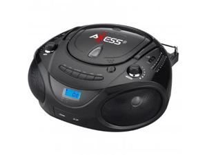 Axess Black Portable Boombox MP3/CD Player with Text Display,with AM/FM Stereo, USB/SD/MMC/AUX Inputs