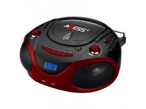 Axess Red Portable Boombox MP3/CD Player with Text Display,with AM/FM Stereo, USB/SD/MMC/AUX Inputs