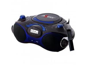 Axess Blue Portable Boombox MP3/CD Player with Text Display,with AM/FM Stereo, USB/SD/MMC/AUX Inputs