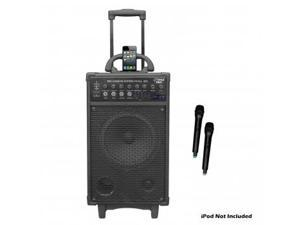 Pyle 300 Watt Dual Channel Wireless Rechageable Portable PA System With iPod/iPhone Dock, FM Radio /USB/SD, and 2 Handheld ...