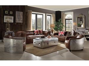 1PerfectChoice Brancaster 4Pcs Retro Brown Leather Aluminum Sofa Set