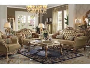 1PerfectChoice Dresden 3Pcs Gold Patina Vinyl Sofa Set Loveseat Chair