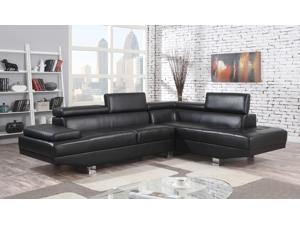 1PerfectChoice Connor Black PU Sectional Sofa Right Chaise