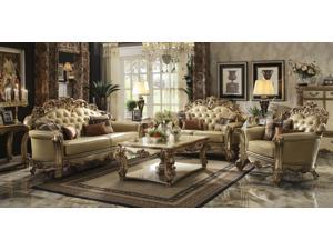 1PerfectChoice Vendome 3Pcs Gold Patina Sofa Set Loveseat Chair