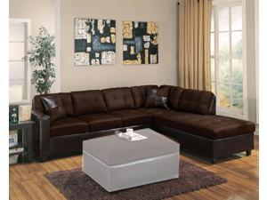1PerfectChoice Milano Chocolate Reversible Sectional Sofa with Chaise