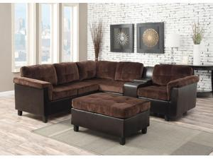 1PerfectChoice Cleavon Chocolate Espresso PU Reversible Sectional Sofa