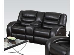 1PerfectChoice Dacey Espresso Bonded Leather Reclining Loveseat Console