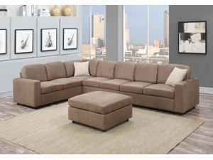 1PerfectChoice Dannis 3Pcs Saddle Microfiber Reversible Sectional Sofa