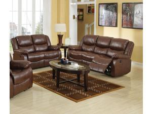 1PerfectChoice Fullerton 2Pcs Brown Leather Reclining Sofa Set Loveseat