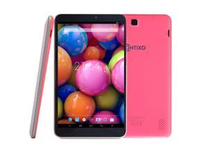 Contixo A82 Quad Core Google Android Tablet PC, 1GB Memory 8GB NAND Flash, Android 4.4 KitKat, IPS Screen 1280x800 Display, Bluetooth, 2016 New Model, Pink