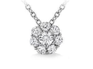 1.00 ct Ladies Round Cut Diamond Pendant / Necklace in 14 kt White Gold