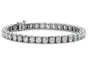 7.00 ct Ladies Round Cut Diamond Tennis Bracelet in 14 kt White Gold