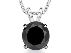 4.00 ct Ladies Black Diamond Solitaire Pendant / Necklace
