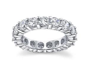 4.00 ct Ladies Round Cut Diamond Eternity Wedding Band Ring in 14 kt White Gold