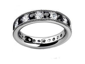 1.00 ct Millgrain Edge Diamond Eternity Wedding Band Ring in 14 kt White Gold