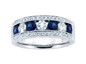 1.50 ct Ladies Blue Sapphire Wedding Band Ring in 14 kt White Gold
