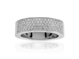 1.50 ct Five Row Ladies Round Cut Diamond Anniversary Ring in Platinum
