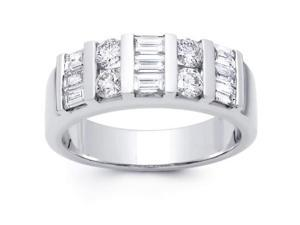 2.00 ct Baguette and Round Cut Diamond Wedding Band Ring in 14 kt White Gold